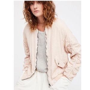 FREE PEOPLE - Ruched Linen Bomber Jacket